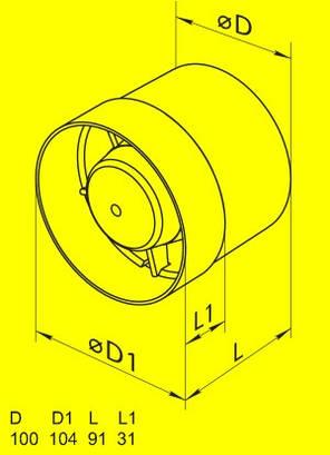 Бытовой канальный вентилятор Домовент 100 ВКО, фото 2
