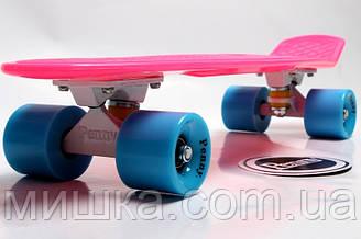 Penny Board. Малиновый цвет с синими колесами, гравировка