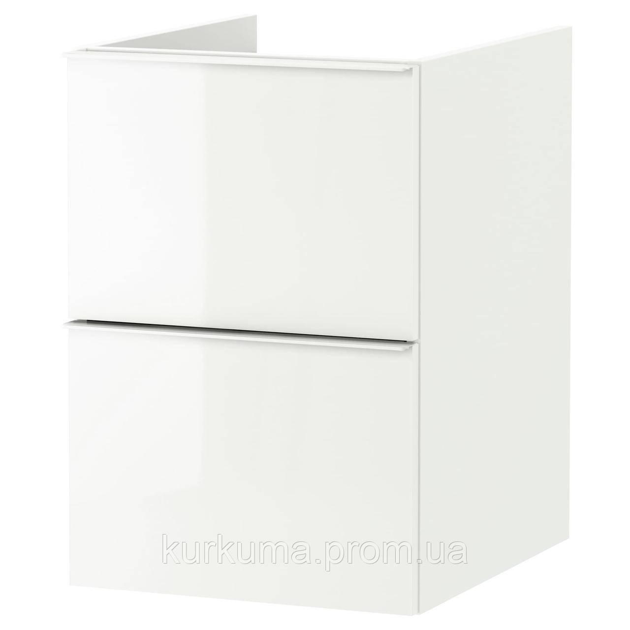 IKEA GODMORGON Шкаф под умывальник, глянцевый белый  (903.246.51)