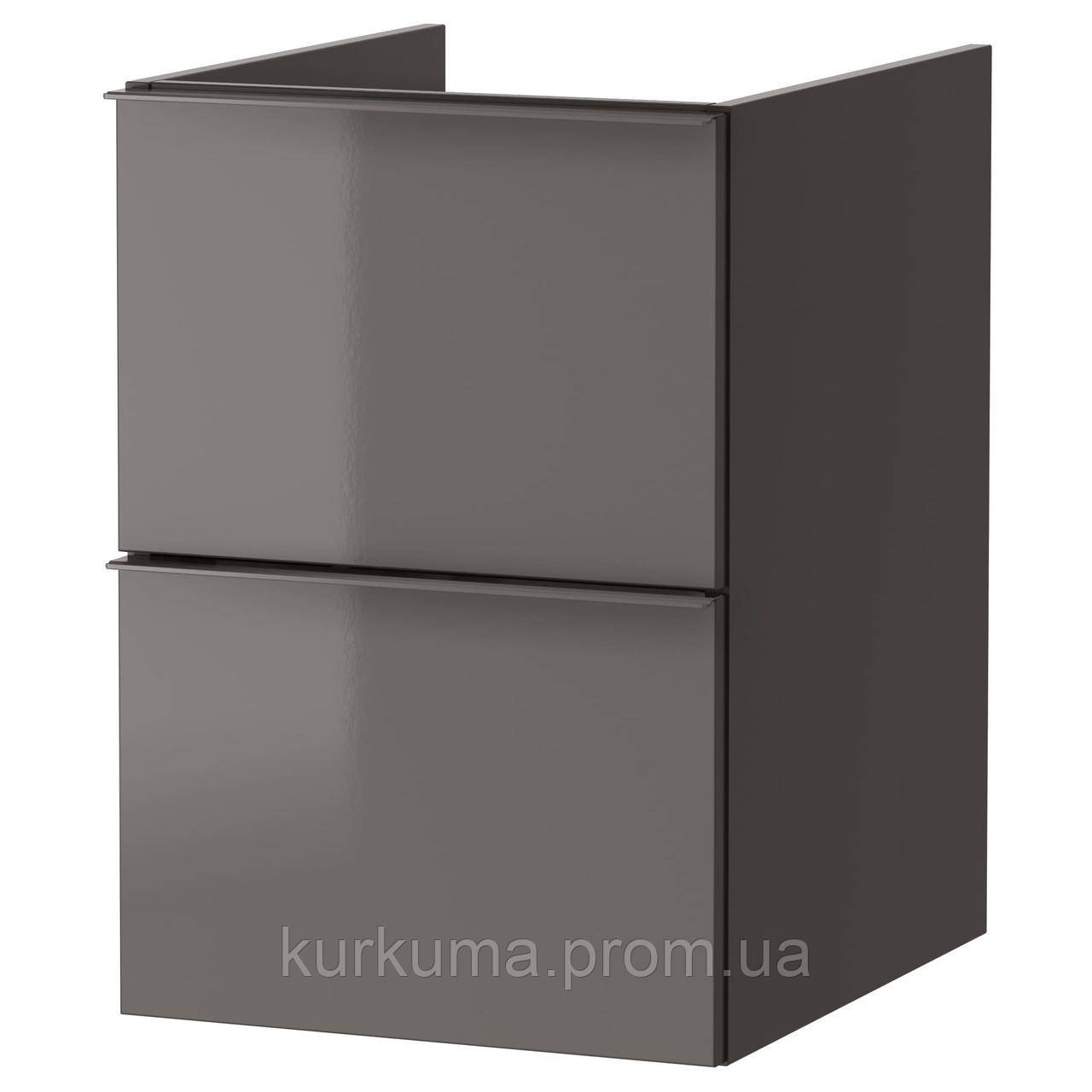 IKEA GODMORGON Шкаф под умывальник, глянцевый серый  (303.246.49)
