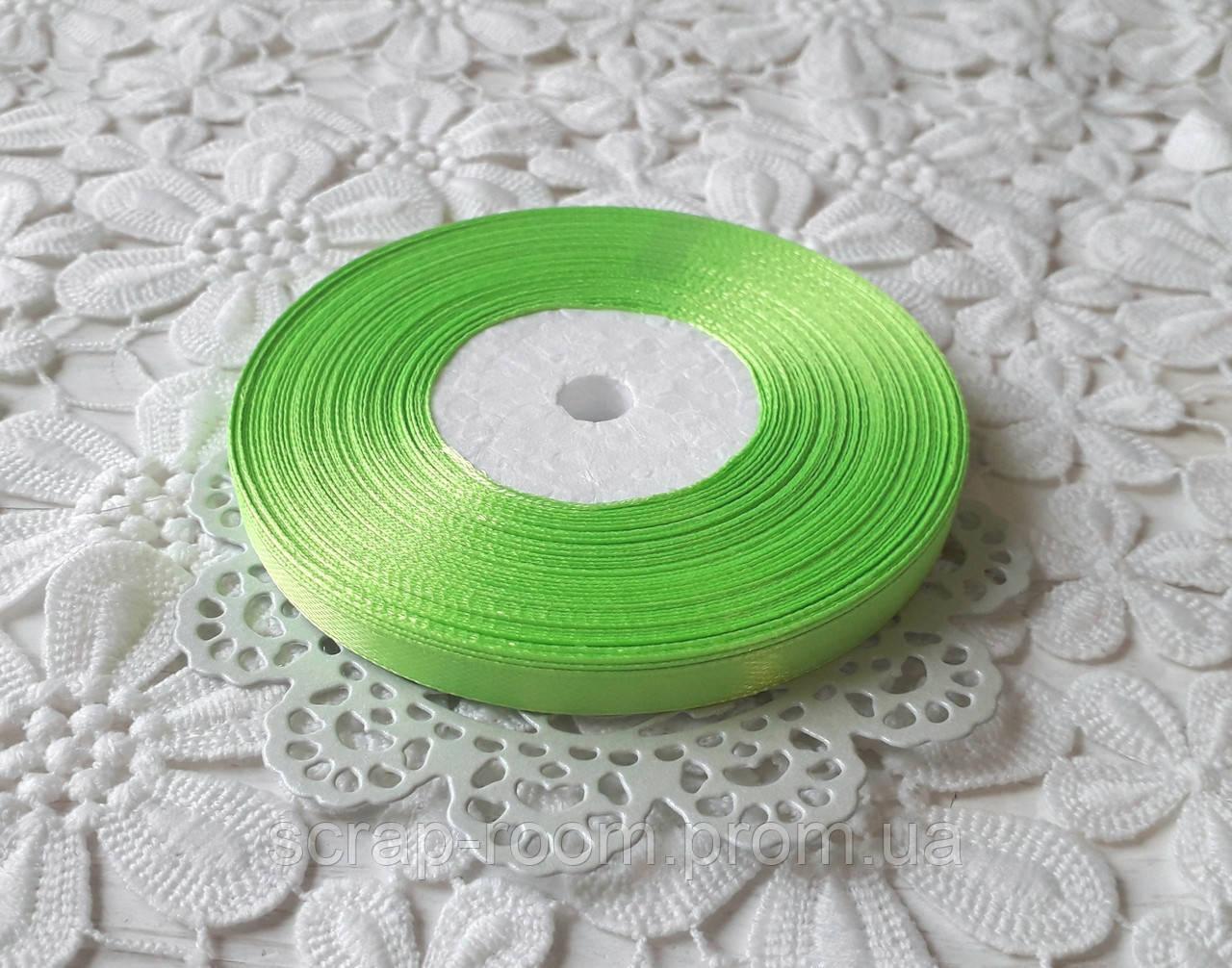 Лента атласная 0,6 см салатовая, лента салатовая атлас, лента атласная цвет салатовый, цена за метр