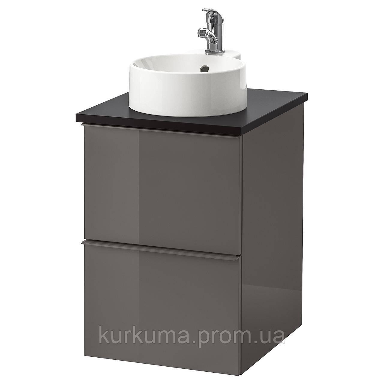 IKEA GODMORGON/TOLKEN/GUTVIKEN Шафа під умивальник з раковиною, глянцевий сірий, (191.935.36)