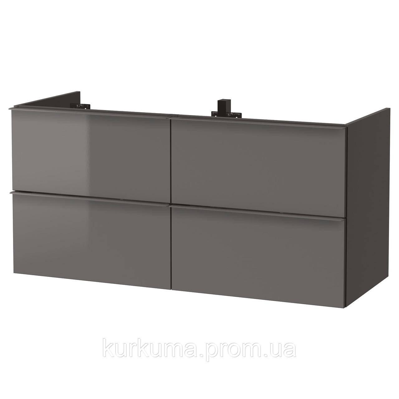 IKEA GODMORGON Шкаф под умывальник с 4 ящиками, глянцевый серый  (503.440.95)