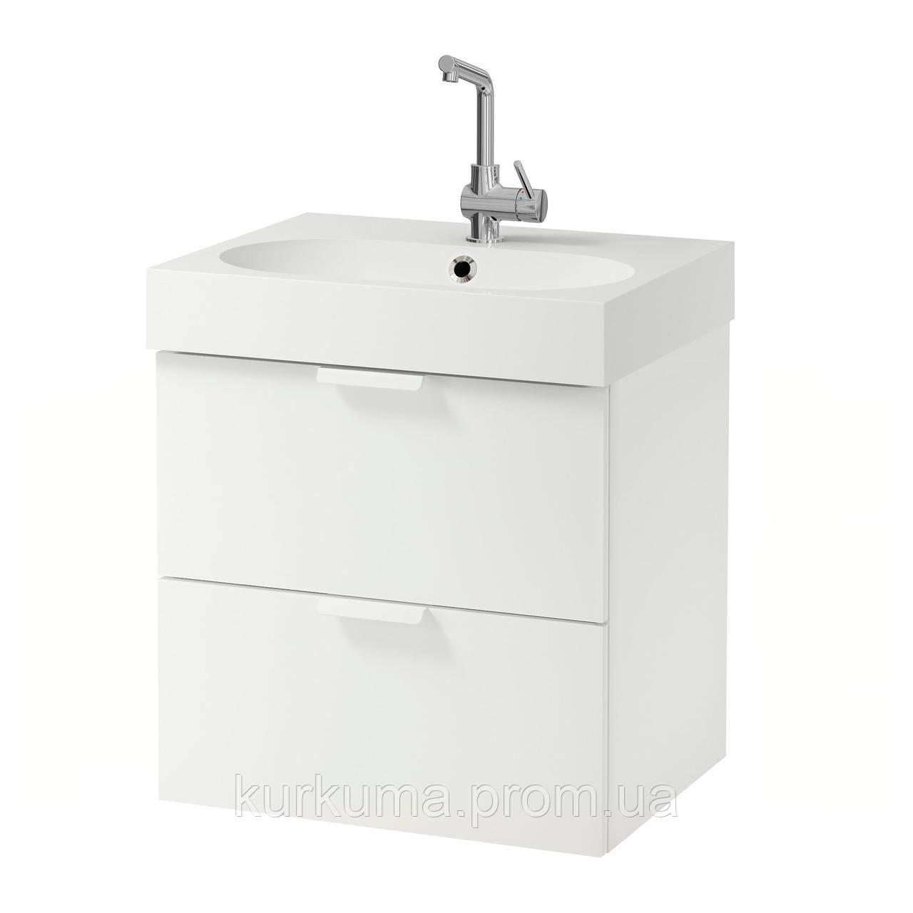 IKEA GODMORGON/BRAVIKEN Шкаф под умывальник с раковиной, белый  (290.234.35)