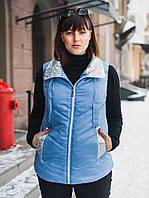 Женская жилетка SIZE+ (большие размеры — 54-68) голубого цвета