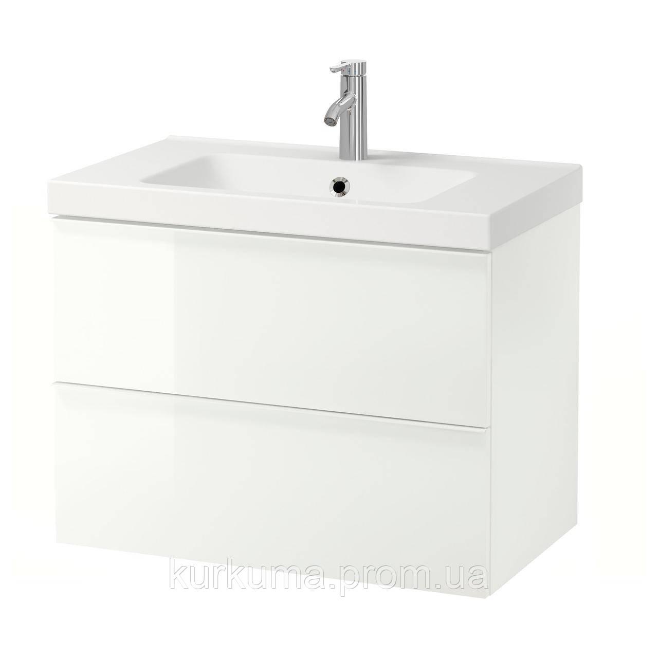 IKEA GODMORGON/ODENSVIK Шкаф под умывальник с раковиной, белый глянцевый белый  (198.733.61)
