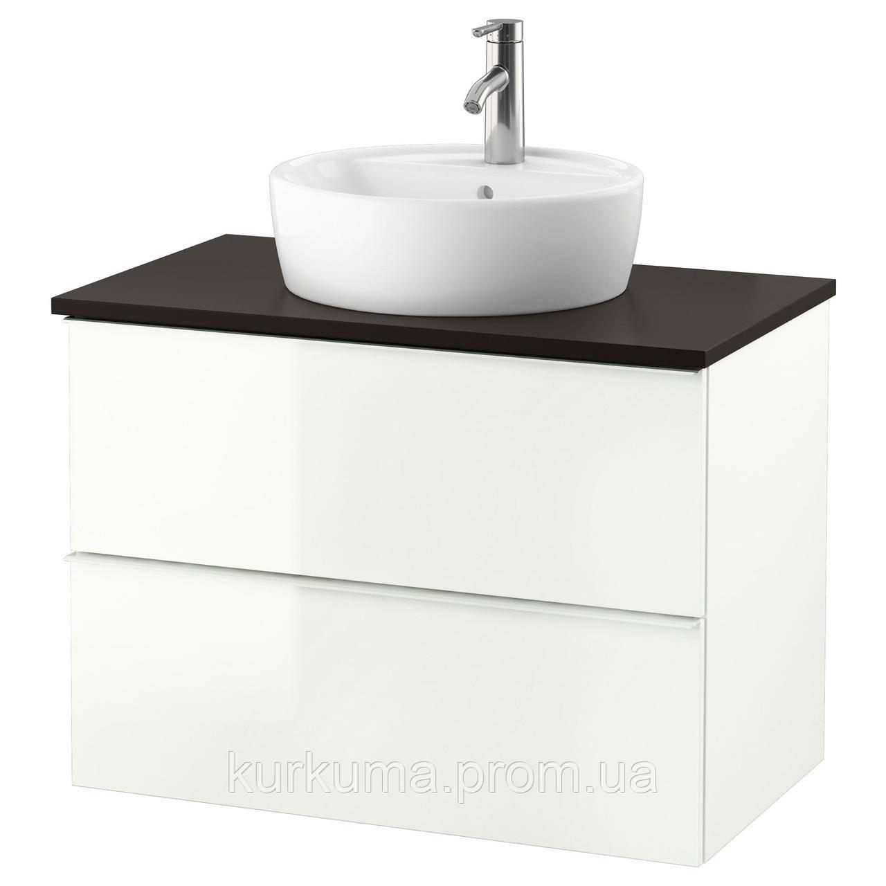 IKEA GODMORGON/TOLKEN/TORNVIKEN Шкаф под умывальник с раковиной, глянцевый белый, антрацит  (291.878.65)