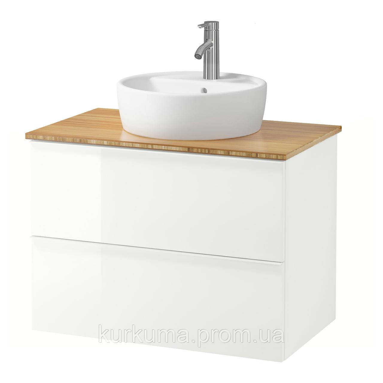 IKEA GODMORGON/TOLKEN/TORNVIKEN Шкаф под умывальник с раковиной, глянцевый белый, бамбук  (992.051.92)