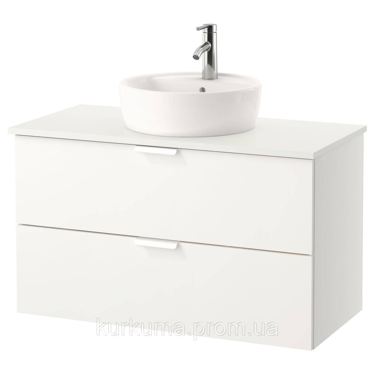 IKEA GODMORGON/TOLKEN/TORNVIKEN Шкаф под умывальник с раковиной, белый, белый  (691.849.16)