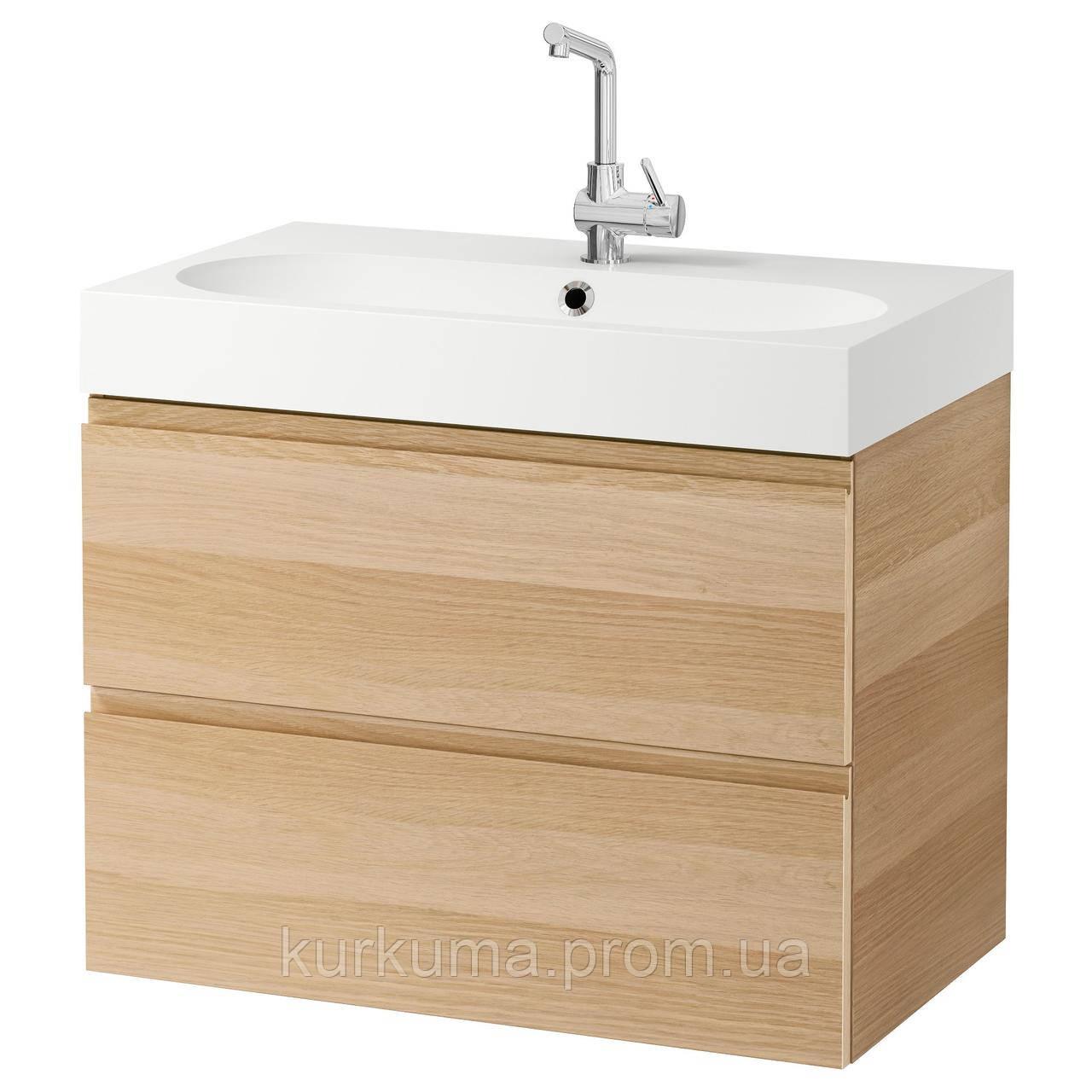 IKEA GODMORGON/BRAVIKEN Шкаф под умывальник с раковиной, дуб окрашенный в белый цвет  (499.030.69)