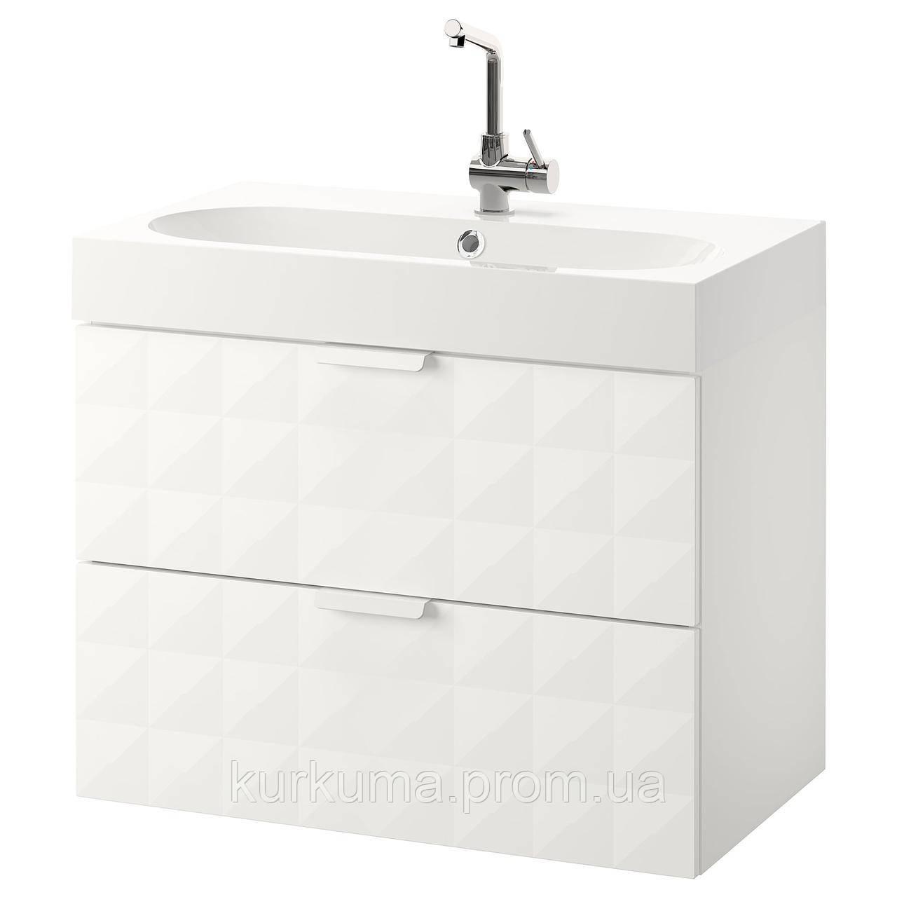 IKEA GODMORGON/BRAVIKEN Шкаф под умывальник с раковиной, Ресжöн белый  (892.473.38)
