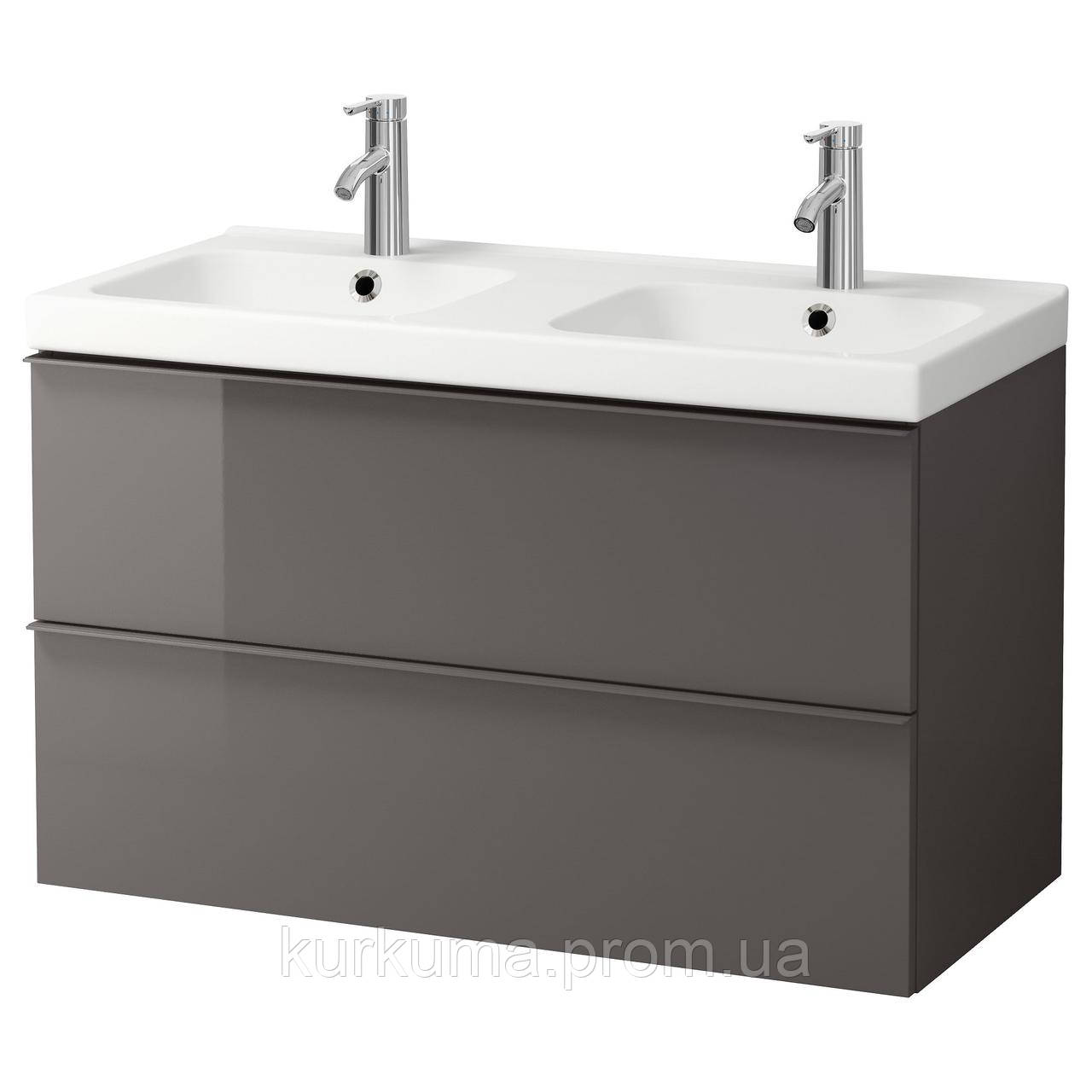 IKEA GODMORGON/ODENSVIK Шкаф под умывальник с раковиной, глянцевый серый  (091.858.48)
