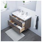 IKEA GODMORGON/ODENSVIK Шкаф под умывальник с раковиной, глянцевый серый  (091.858.48), фото 2