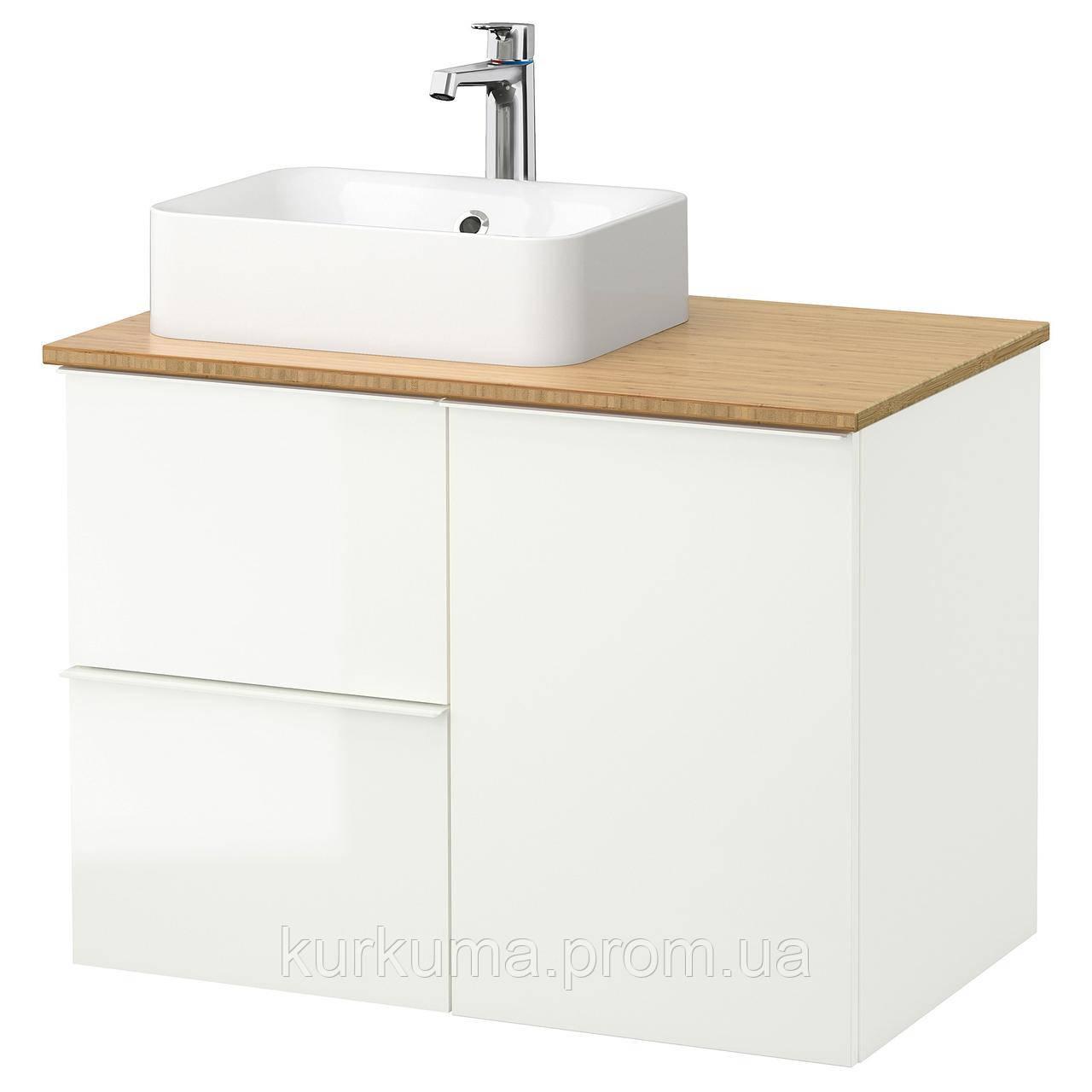 IKEA GODMORGON/TOLKEN/HORVIK Шкаф под умывальник с раковиной 45x32, глянцевый белый, бамбук  (392.083.01)