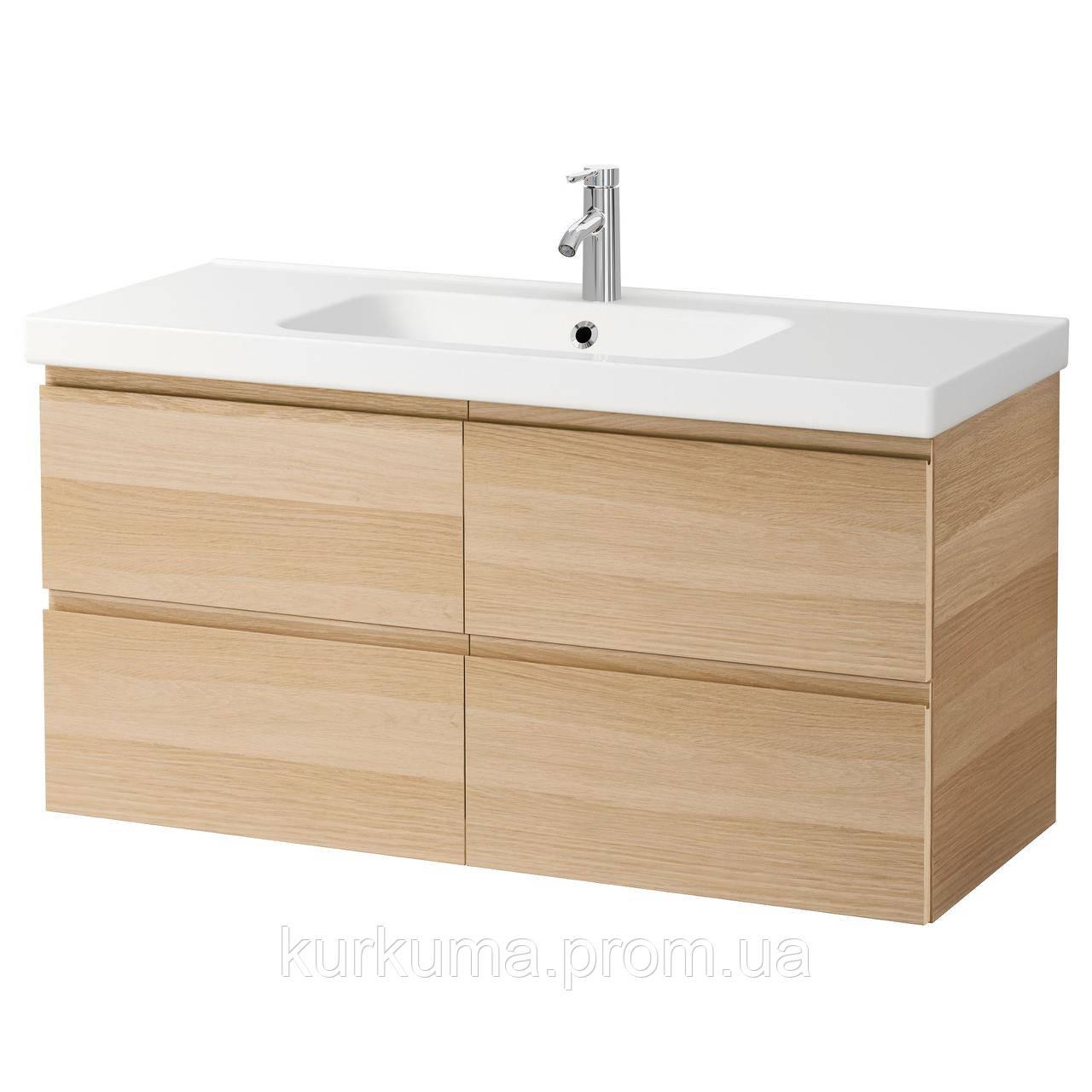IKEA GODMORGON/ODENSVIK Шкаф под умывальник с раковиной, Дуб беленый  (391.865.92)