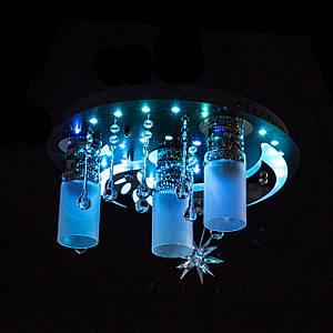 """Люстра """"космос"""" з LED підсвічуванням на пульті управління P5-S0857/3+1/CH+BK+WT"""