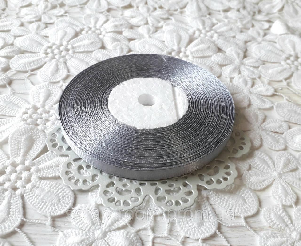 Лента атласная 0,6 см серебро, лента серебряный атлас, лента атласная цвет серебро, цена за метр