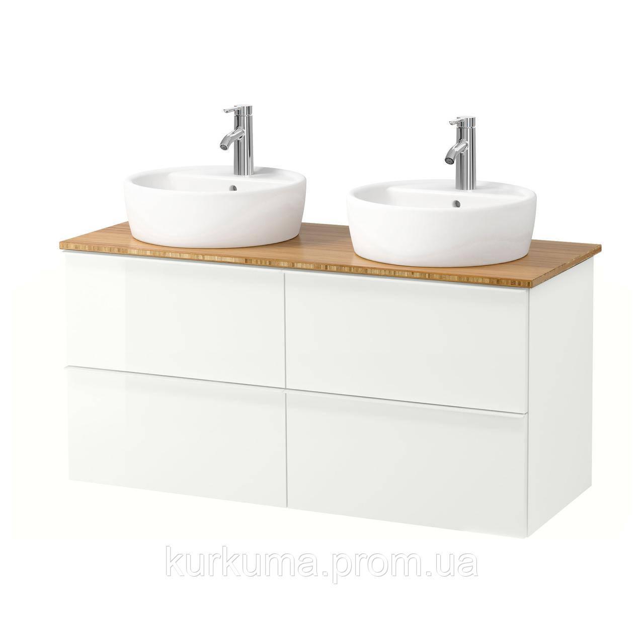 IKEA GODMORGON/TOLKEN/TORNVIKEN Шкаф под умывальник с раковиной, глянцевый белый, бамбук  (991.852.88)