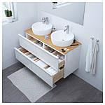 IKEA GODMORGON/TOLKEN/TORNVIKEN Шкаф под умывальник с раковиной, глянцевый белый, бамбук  (991.852.88), фото 2