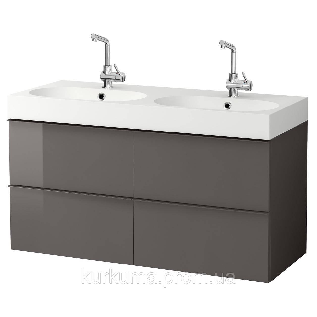 IKEA GODMORGON/BRAVIKEN Шкаф под умывальник с раковиной с 4 ящиками, глянцевый серый  (791.858.35)