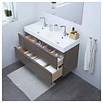 IKEA GODMORGON/BRAVIKEN Шкаф под умывальник с раковиной с 4 ящиками, глянцевый серый  (791.858.35), фото 4