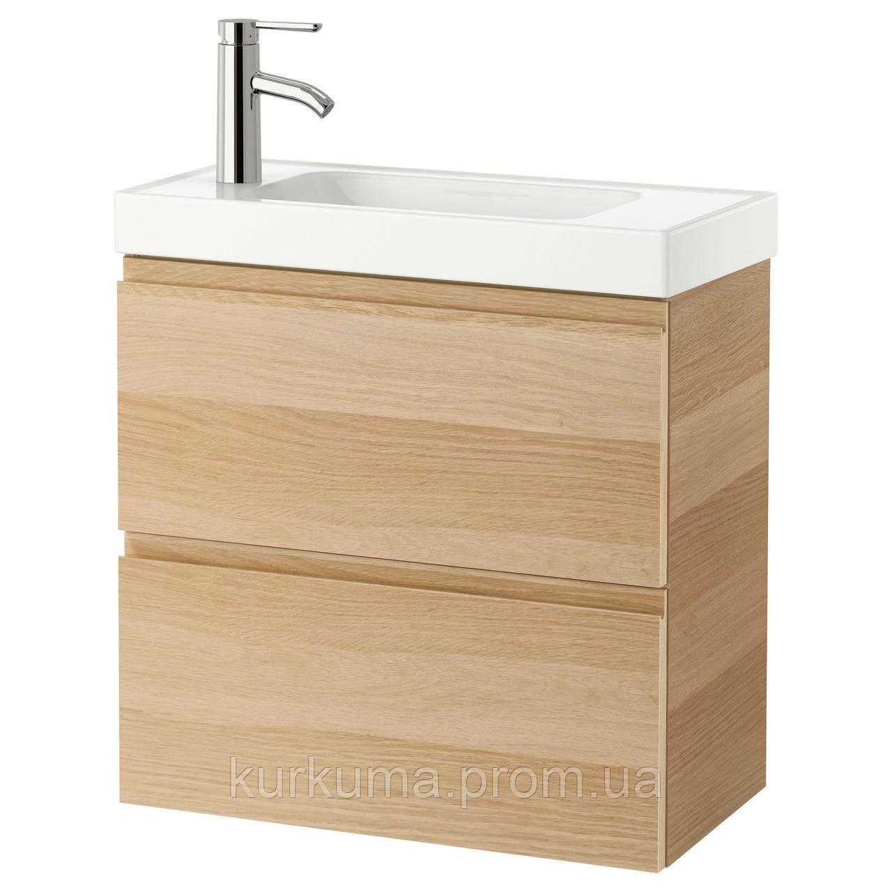 IKEA GODMORGON/HAGAVIKEN Шкаф под умывальник с раковиной, дуб окрашенный в белый цвет  (991.560.35)