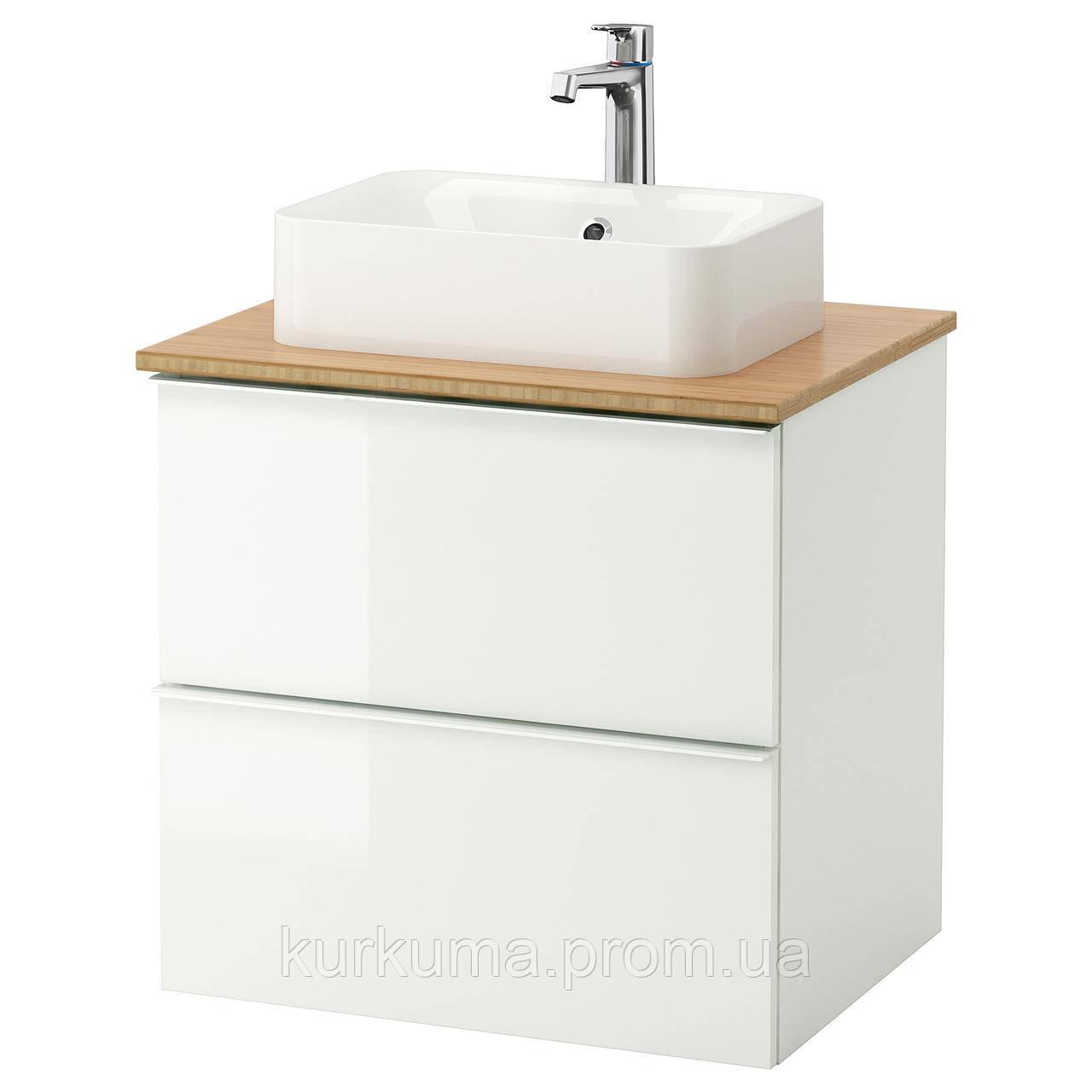 IKEA GODMORGON/TOLKEN/HORVIK Шафа під умивальник з раковиною 45x32, глянцевий білий, бамбук (792.135.60)