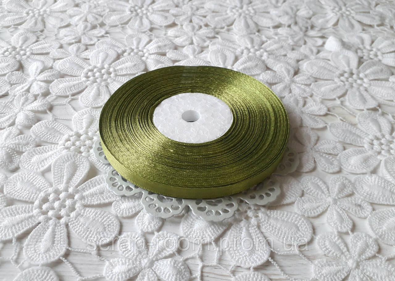 Лента атласная 0,6 см оливковая, лента оливковая атлас, лента атласная цвет оливковый, цена за метр