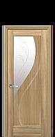 Дверное полотно Прима Золотой Дуб со стеклом сатин с рисунком Р2