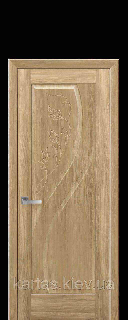 Дверное полотно Прима Золотой Дуб глухое с гравировкой