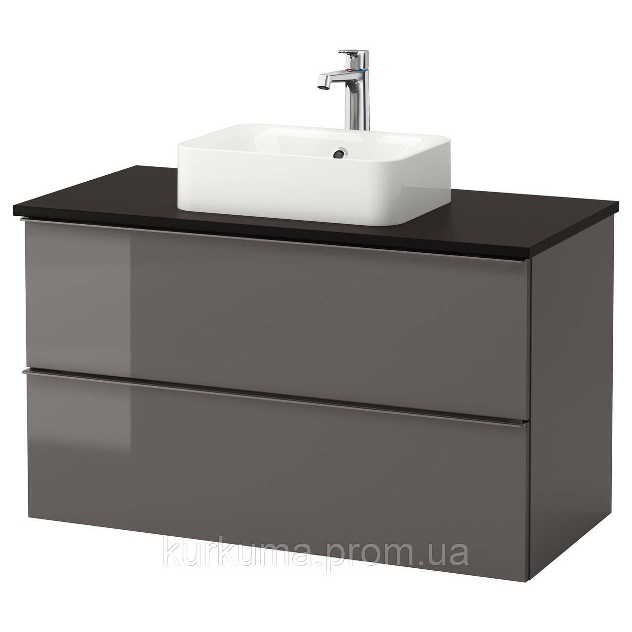 IKEA GODMORGON/TOLKEN/HORVIK Шкаф под умывальник с раковиной 45x32, глянцевый серый, антрацит  (192.088.11)