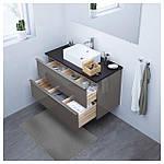 IKEA GODMORGON/TOLKEN/HORVIK Шкаф под умывальник с раковиной 45x32, глянцевый серый, антрацит  (192.088.11), фото 2