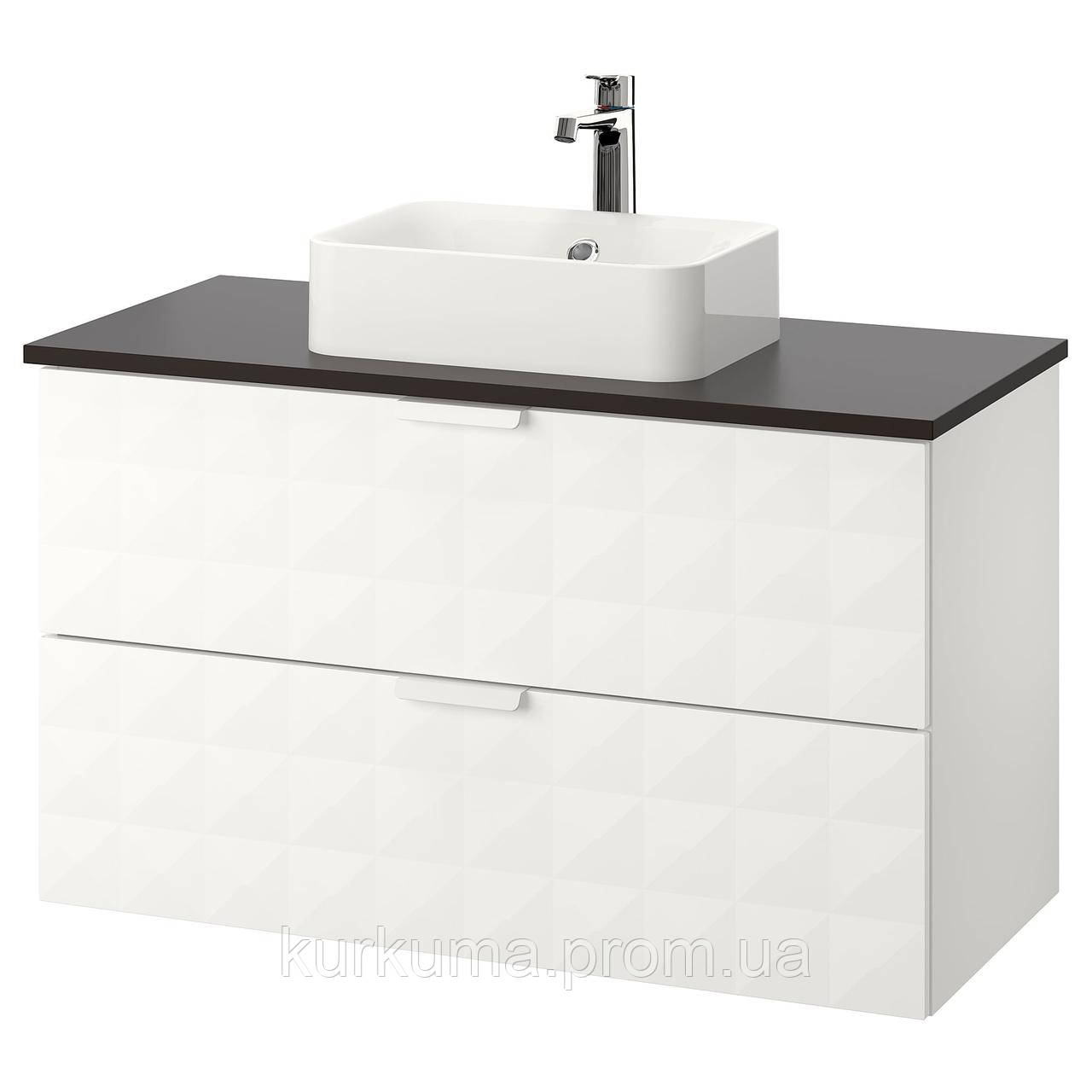 IKEA GODMORGON/TOLKEN/HORVIK Шкаф под умывальник с раковиной 45x32, Ресжöн белый, антрацит  (192.473.65)