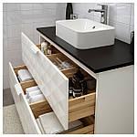 IKEA GODMORGON/TOLKEN/HORVIK Шкаф под умывальник с раковиной 45x32, Ресжöн белый, антрацит  (192.473.65), фото 2