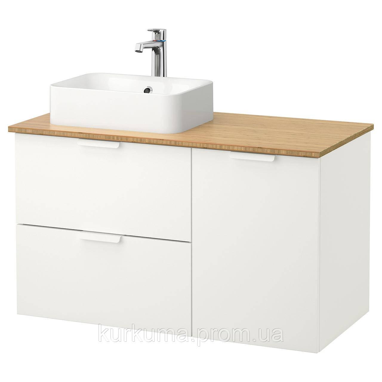 IKEA GODMORGON/TOLKEN/HORVIK Шкаф под умывальник с раковиной 45x32, белый, бамбук  (692.085.16)