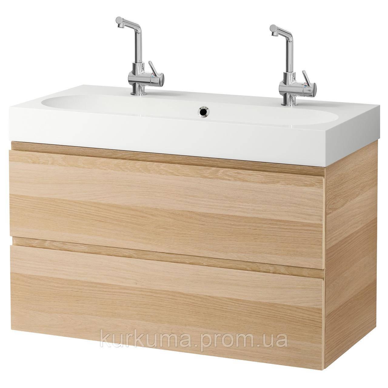 IKEA GODMORGON/BRAVIKEN Шкаф под умывальник с раковиной, дуб окрашенный в белый цвет  (991.865.27)