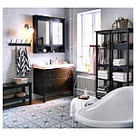 IKEA HEMNES Шкаф под умывальник с раковиной, черно-коричневая Морилка  (202.176.59), фото 4