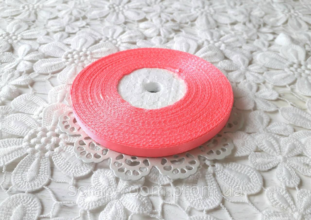 Лента атласная 0,6 см ярко-розовая, лента розовая атлас, лента атласная ярко-розовая, цена за метр
