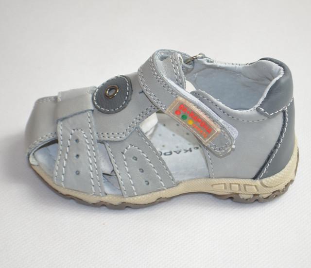 Кожаные сандалии босоножки Da Корона голубые 22р
