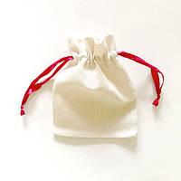 Подарочные мешочки из текстиля с красной лентой