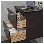 IKEA GODMORGON/TOLKEN Шкаф под умывальник со столешницей, черно-коричневый, антрацит  (892.954.09), фото 3