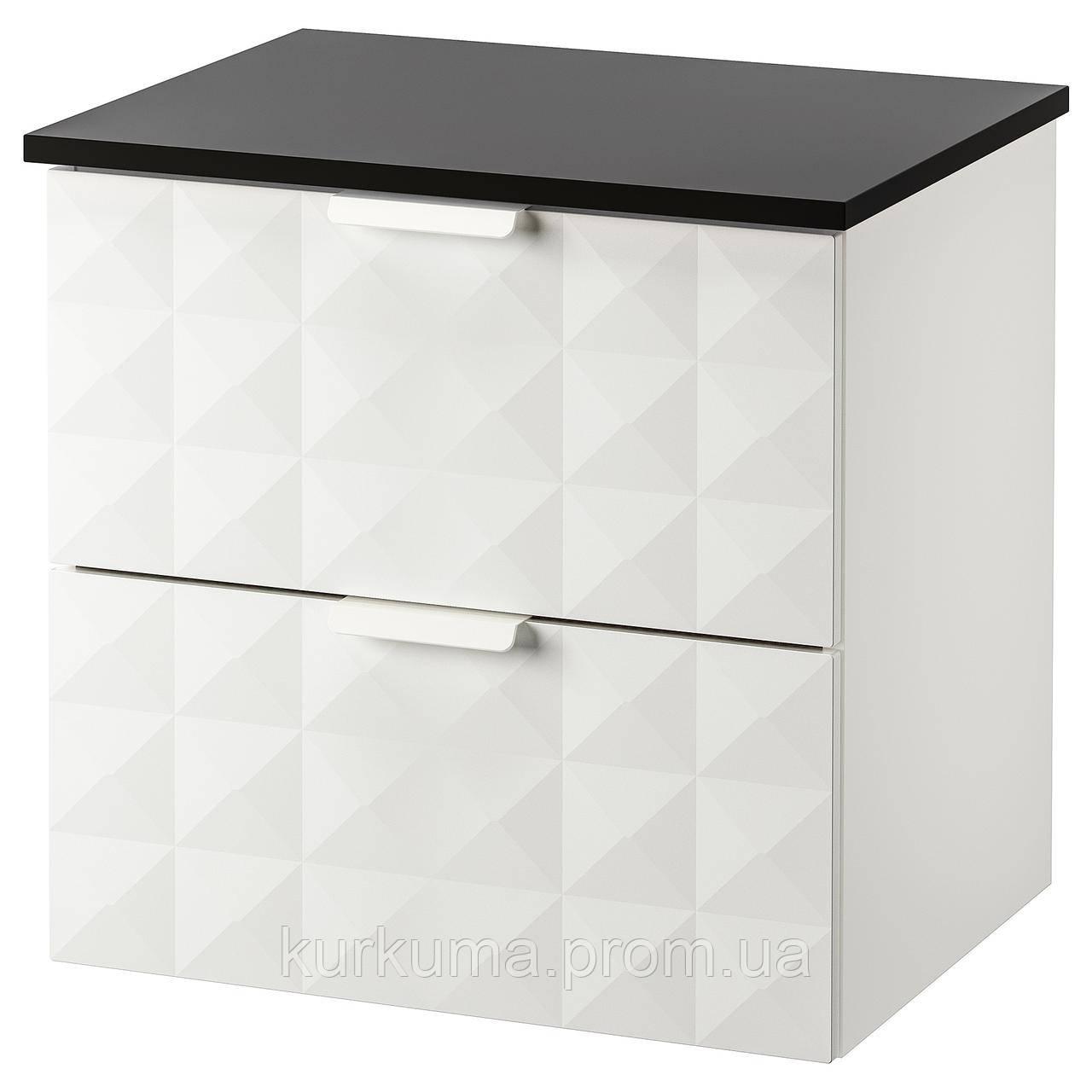IKEA GODMORGON/TOLKEN Шафа під умивальник зі стільницею, Ресжон білий, антрацит (592.954.44)