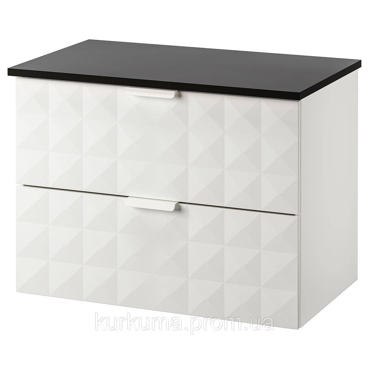 IKEA GODMORGON/TOLKEN Шафа під умивальник зі стільницею, Ресжон білий, антрацит (092.954.65)