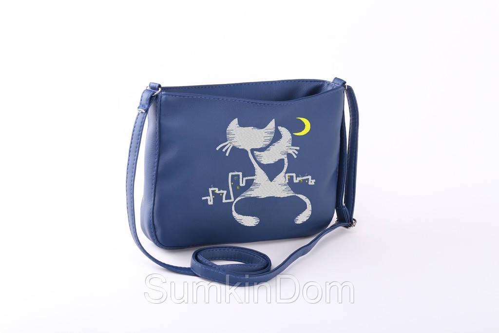Маленькая женская сумка «Влюбленные коты под луной»