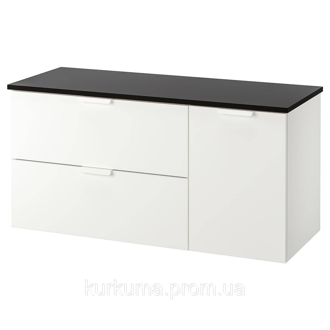 IKEA GODMORGON/TOLKEN Шафа під умивальник зі стільницею із 3 ящиками, білий, антрацит (792.952.83)