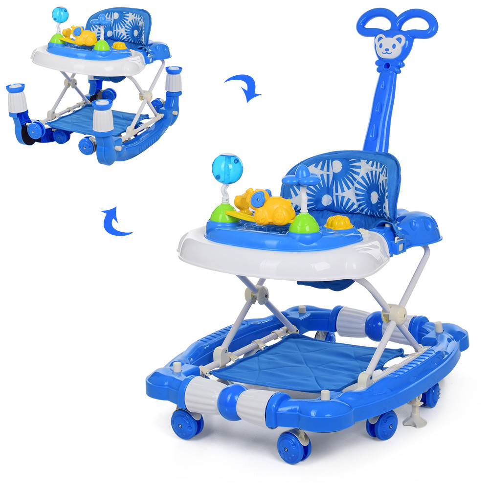 Детские ходунки-качалка с родительской ручкой 3 в 1 BAMBI M 3848-1 синие