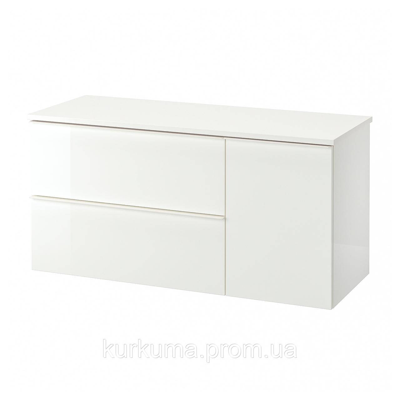 IKEA GODMORGON/TOLKEN Шкаф под умывальник со столешницей с 3 ящиками, глянцевый белый, белый  (992.952.77)