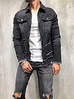 Мужской джинсовый пиджак стильный на молнии черный