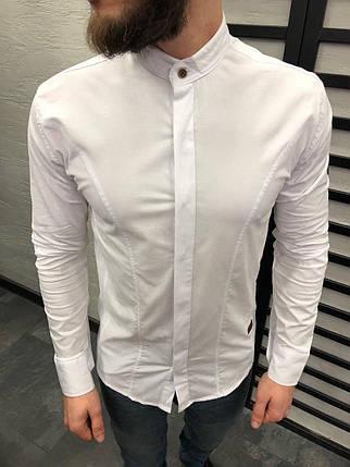a2d52d2efea Мужская рубашка приталенная белая с воротником стойка  продажа