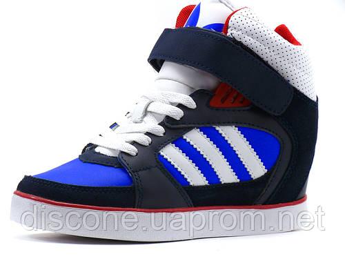Сникерсы Adidas Wedge Heels женские синие черные белые шнурок липучка высокие кроссовки